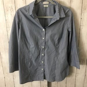 3/4 sleeve striped blue button down size L